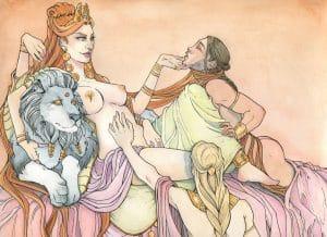 La déesse Ishtar lovée sur sa couche avec ses amants