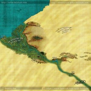 Carte du delta du Neilos aussi appelé Ventre-de-la-Vache